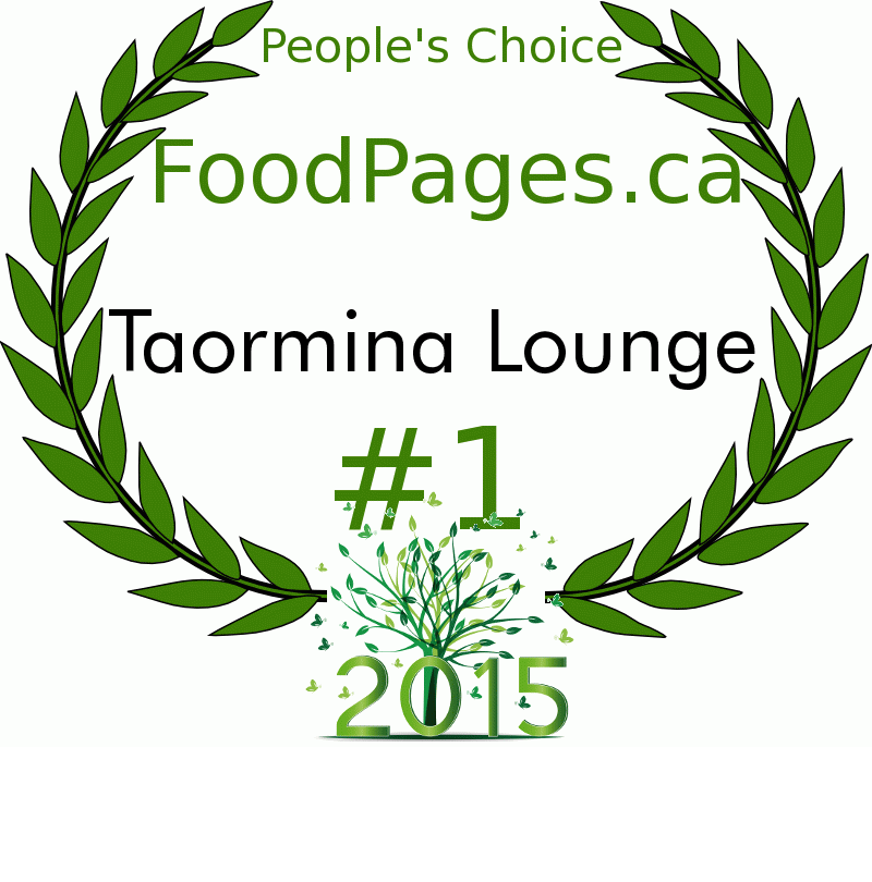 Taormina Lounge FoodPages.ca 2015 Award Winner