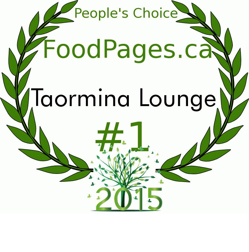Taormina Lounge FoodPages.ca 2015 Award Winner